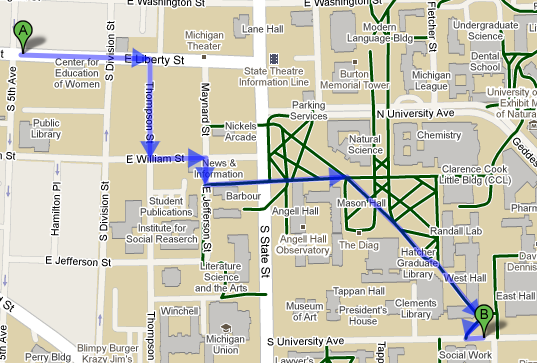 Online suggestions for bicycle routes around Ann Arbor including