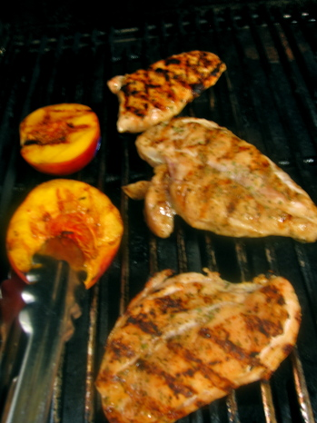 lampman, grilling chicken and peaches
