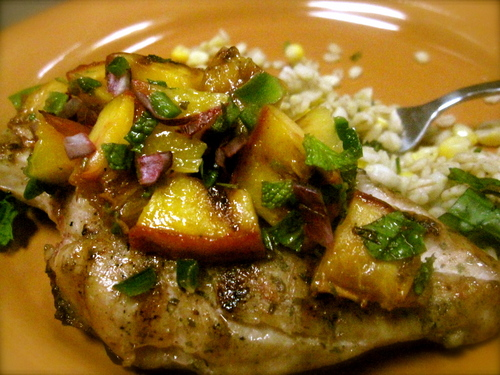 lampman, grilled chicken breasts with grilled peach salsa