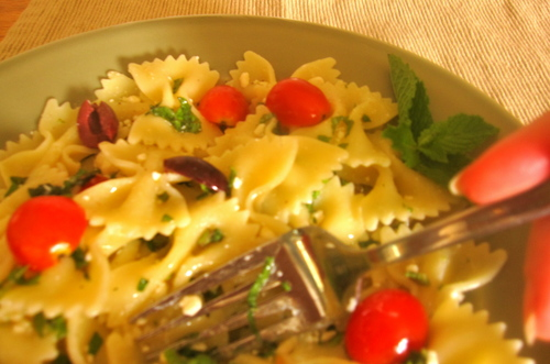 lampman, greek pasta salad with feta and mint
