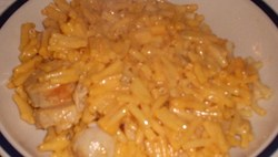 Macaroni and Cheese with Bratwurst.JPG