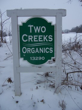 Borden - sign of Two Creeks Organics