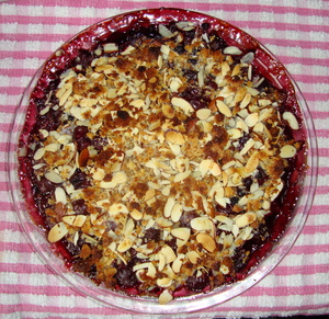 A delicious cherry-blueberry almond macaroon crisp