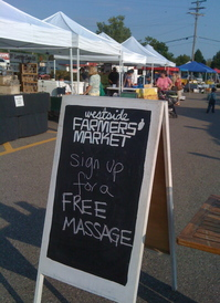 Borden - massage sign at the market