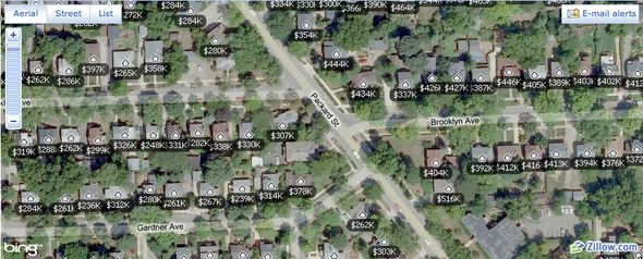Neighborhood real estate maps and Zillow on