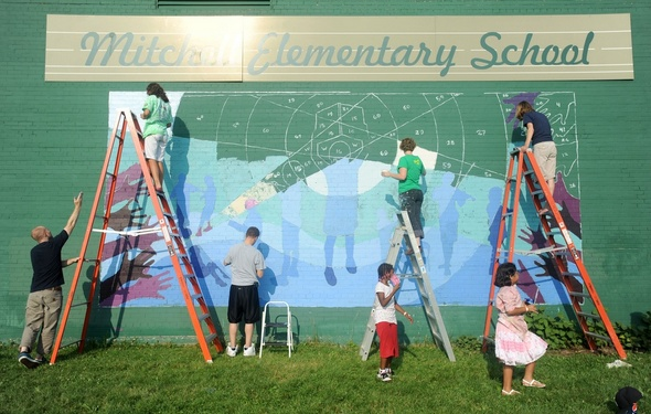 Treetown murals works with mitchell elementary to paint for Elementary school mural