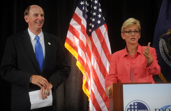 Merit Network CEO Don Welch and Governor Jennifer Granholm in Ann Arbor .JPG