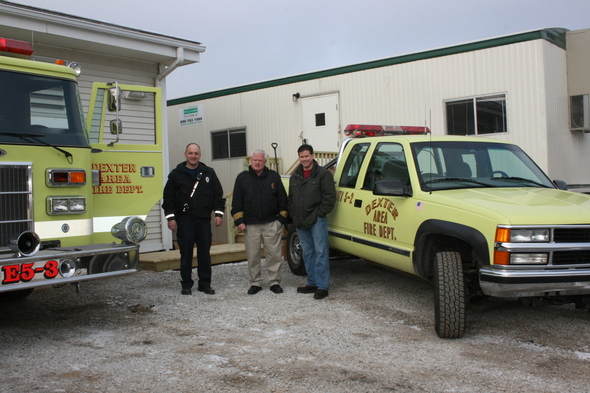 Dexter_ firefighter_Lee_Root_Chief_Loren_Yates_DAFD_chair_Jim_Seta_Outside_new_Dexter_Twp_substation.JPG