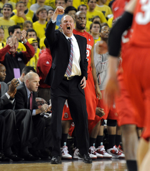 Ohio State coach Thad Matta gets fired up after the Buckeyes made a ...