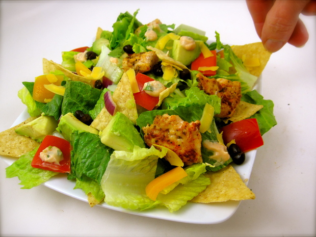 Chopped Chicken Tostada Salad with Chipotle-Corn Dressing