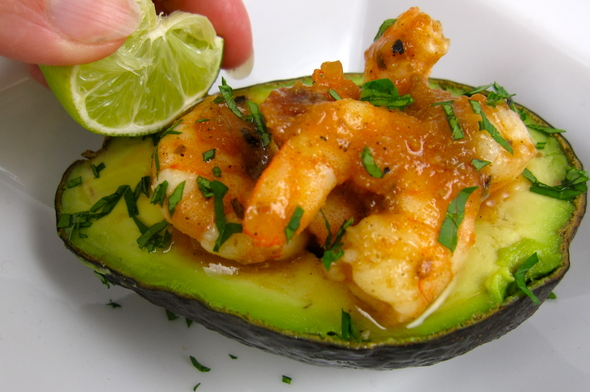 Avocado stuffed with Cumin Salsa Shrimp, plus grilling links