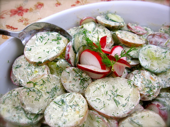 Potato, Radish and Cucumber Salad with Yogurt-Dill Dressing showcases ...