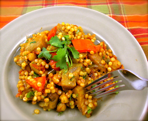 Israeli Couscous and Chickpeas with Curried Eggplant and ...