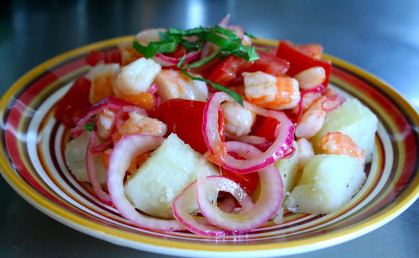Tangy and refreshing, this shrimp and potato salad works as a light ...