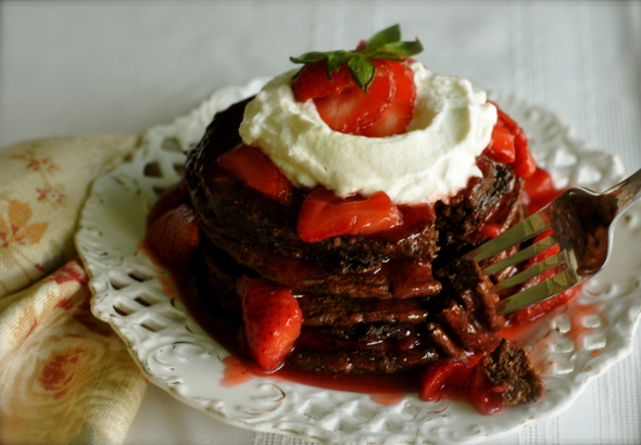 Double Chocolate Chip Pancakes with Strawberry Syrup a fitting treat ...