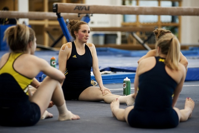 Michigan women's gymnastics team spells out 'The Victors' in hopes of