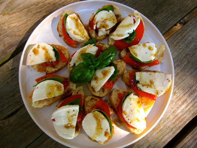Super fast caprese canapes recipe is an easy way to use for Summer canape ideas