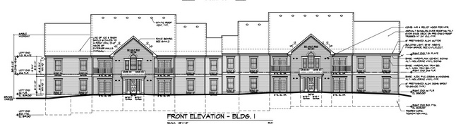 building elevation drawing for Burton Commons as presented in 2011.