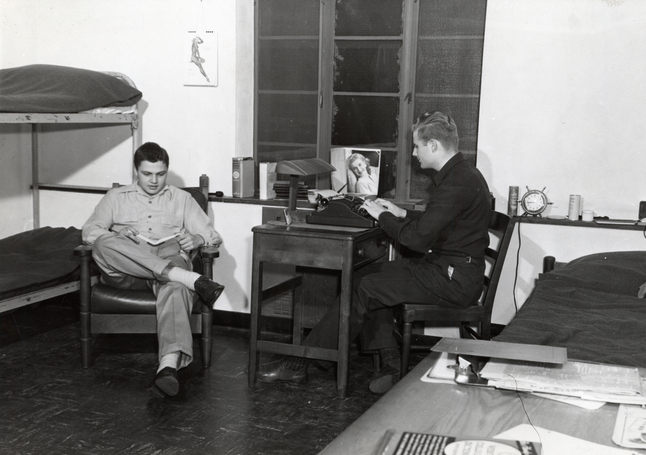 ca. 1940s Two men in Dorm room in East Quad UM Alumni Association HS9213-crop.jpg