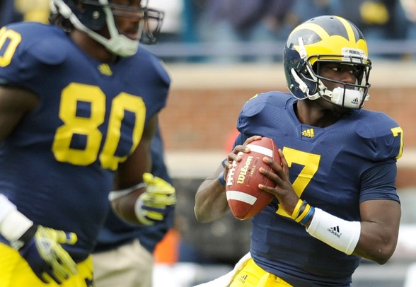 Michigan sophomore quarterback Devin Gardner warms up before the football game against EMU at Michigan Stadium on Saturday. Angela J. Cesere | AnnArbor.com