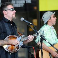 Jason Dennie, left, on mandolin, playing with musician Dave Boutette. Angela J. Cesere | AnnArbor.com