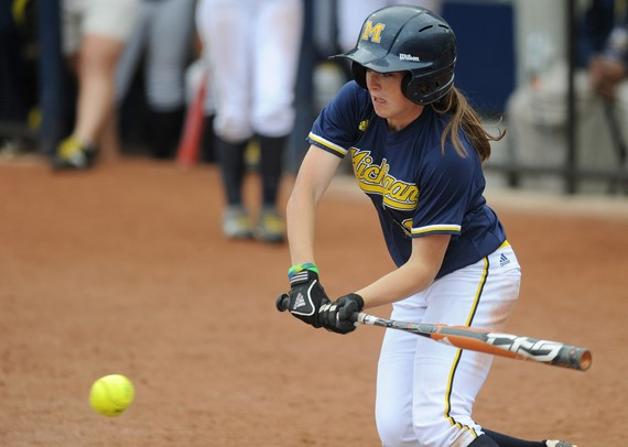 Michigan sophomore Lyndsay Doyle hits the ball during the second  game of three against Purdue on Saturday afternoon. Angela J. Cesere | AnnArbor.com