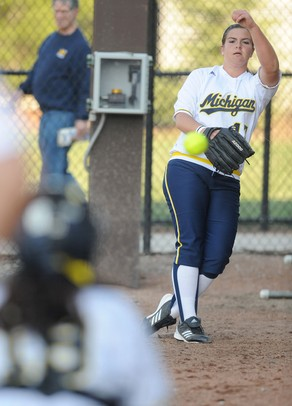 Michigan freshman pitcher Haylie Wagner warms up before the softball game against Eastern Michigan on Wednesday evening. Angela J. Cesere | AnnArbor.com