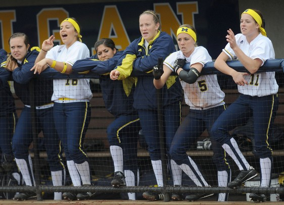 Michigan cheers for teammates up to bat against Penn State during a double header at Wilpon Softball Complex in Ann Arbor on Saturday afternoon. Angela J. Cesere | AnnArbor.com