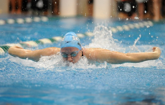Skyline's Lexie Beemer competes in heat 4 of the 200 yard IM. AnnArbor.com | Angela J. Cesere