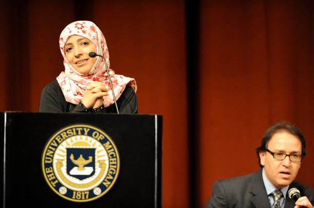 Yemeni Nobel Prize Winner Tawakkul Karman gave a speech on women and their role in the changing Middle East. University of Michigan associate professor Khaled Mattawa, right, interprets Karman's arabic to english. Angela J. Cesere | AnnArbor.com