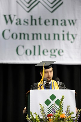 Washtenaw Community College graduate Robert Nelson speaks during the commencement ceremony held at Eastern Michigan University's Convocation Center on Saturday morning. Angela J. Cesere | AnnArbor.com