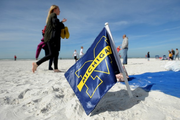 A Michigan fan displays their school pride during beach day in Clearwater, Fla. on Sunday, Dec. 30. Melanie Maxwell I AnnArbor.com