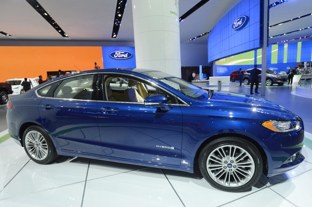 The Ford Fusion SE Hybrid during a press presentation at the North American International Auto Show during the press preview on Monday, Jan. 14, at Cobo Center in Detroit.   Melanie Maxwell I AnnArbor.com
