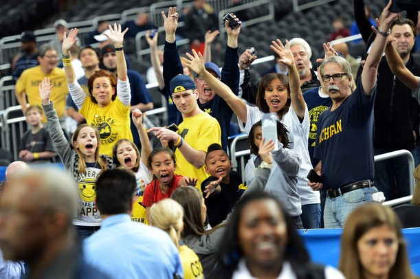 Michigan fans cheer for a chance at Final Four tickets during an open practice at the Georgia Dome in Atlanta on Friday, April 5, 2015. Melanie Maxwell I AnnArbor.com
