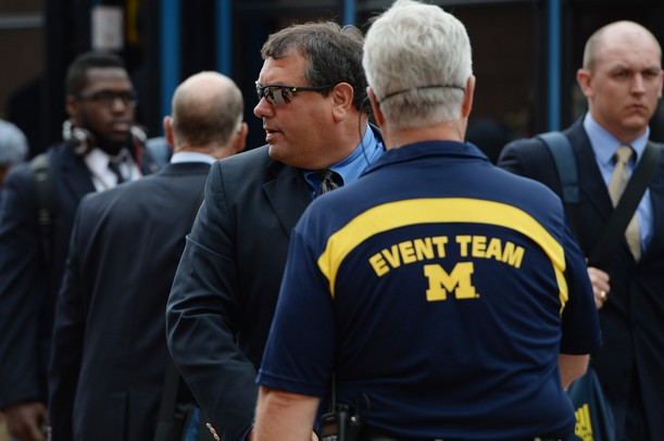 Michigan head coach Brady Hoke makes his way into the stadium before the start of the season home opener against Central Michigan at Michigan Stadium on Saturday, August 31, 2013. Melanie Maxwell | AnnArbor.com