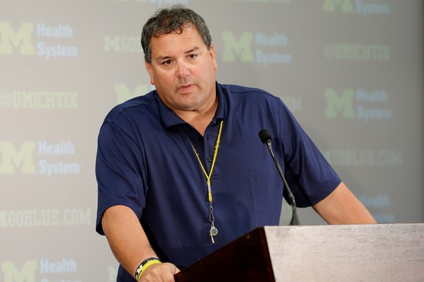 Michigan head coach Brady Hoke speaks with reporters at the Junge Family Champions Center on Monday, August 26, 2013. Melanie Maxwell | AnnArbor.com