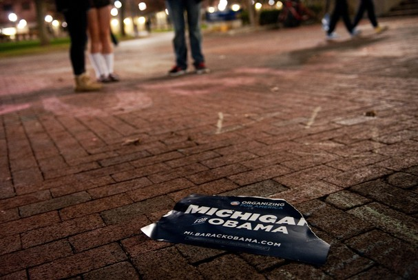 A campaign sign on the ground of the Michigan campus on Tuesday. Daniel Brenner I AnnArbor.com