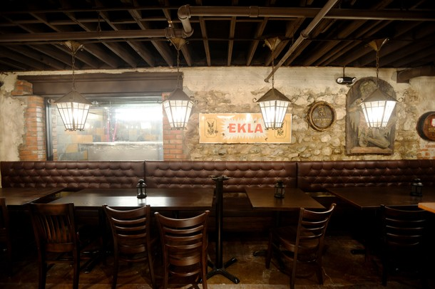 the walls of the old german are decorated with fun german themed items wall signs and lighting the once popular bar is set to open next week back bar lighting