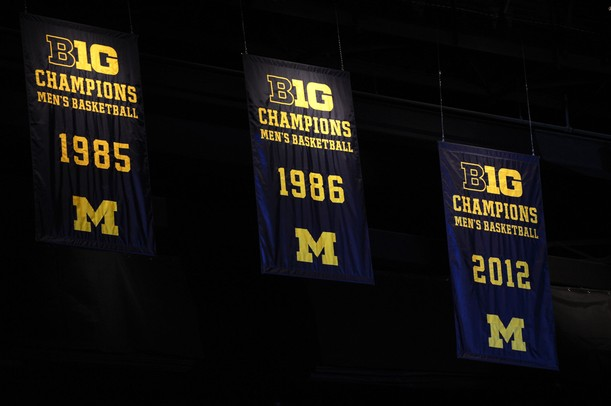 A 2012 B1G Ten champions banner hangs from the rafters  at Crisler Center on Tuesday night. Melanie Maxwell I AnnArbor.com