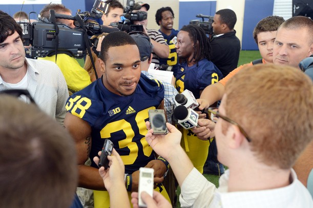 Michigan sophomore running back Thomas Rawls answers questions during media day at the Al Glick Field House on Sunday afternoon. Melanie Maxwell I AnnArbor.com