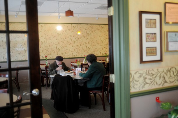 Francis Reynnet dines with his Caroline, both of Okemos, at Ayse's Turkish Cafe on Wednesday afternoon. Melanie Maxwell I AnnArbor.com
