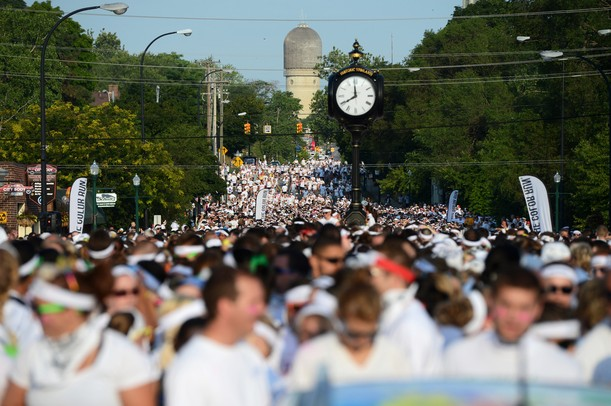 Thousands of runners line up for the start of the Ypsilanti Color Run 5K on Sunday morning. Melanie Maxwell I AnnArbor.com