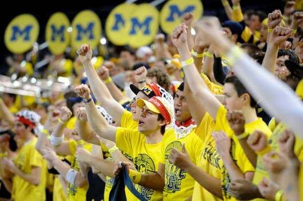 Michigan fans sing the fight song during a taping of ESPN's College Game Day at Crisler Arena on Saturday morning. Melanie Maxwell I AnnArbor.com