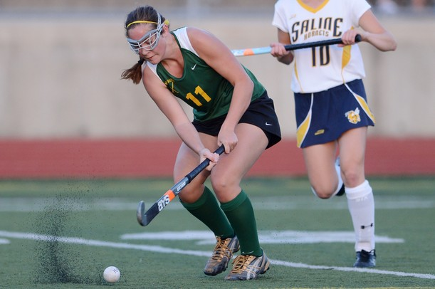 Huron's Sophia Vancouver looks to pass the ball during the first half against Saline at Saline on Thursday night. Melanie Maxwell I AnnArbor.com
