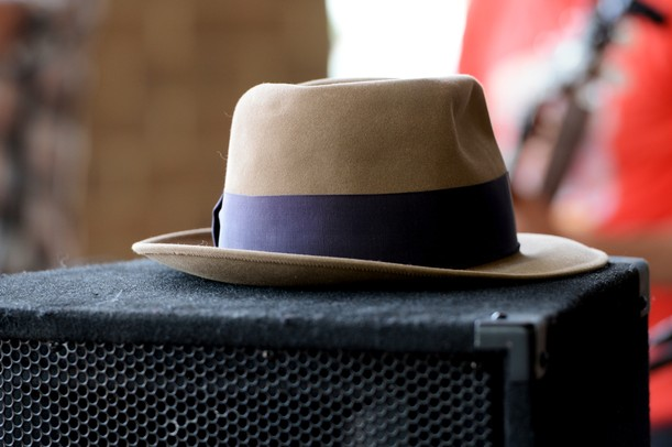 A hat sits on top of a speaker as Jon Ponder plays the AnnArbor.com Summer Concert Series on Friday afternoon. Melanie Maxwell I AnnArbor.com