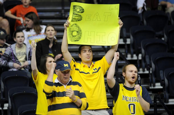 Michigan fans sing the fight song before the start of their second round NCAA match up to Ohio University at Bridgestone Arena in Nashville, Tenn.  Melanie Maxwell I AnnArbor.com
