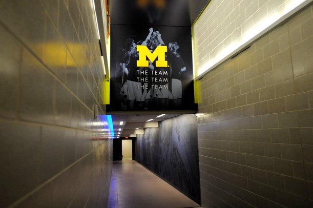 Players run down this tunnel, which connects Crisler Arena to the Player Development Center, to get to the court. Melanie Maxwell I AnnArbor.com