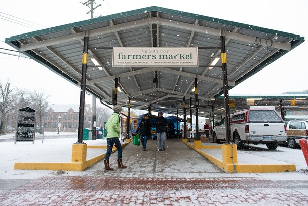 Ann Arbor's farmers market on a snowy Saturday morning. The market runs throughout the winter on Saturdays from 8 a.m. to 3 p.m. 