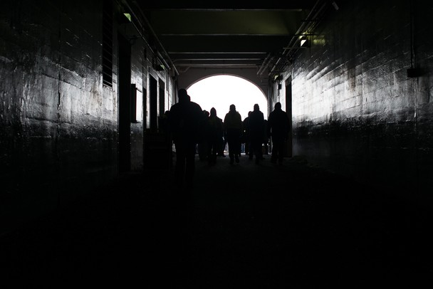 Polar Plunge participants walk through the tunnel at Michigan Stadium.