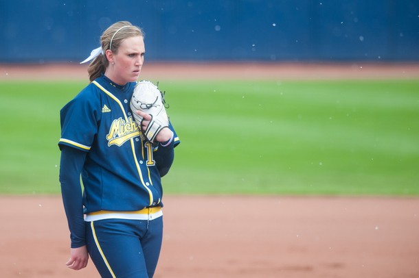 Michigan pitcher sophomore Sara Driesenga waits to throw the ball during the first inning of their game against Iowa at Alumni field Saturday, April 20.